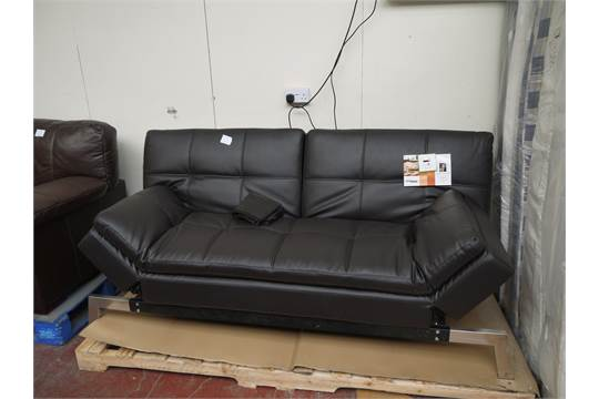 Brown leather effect euro lounger sofa bed folds down for Sofa 400 euro
