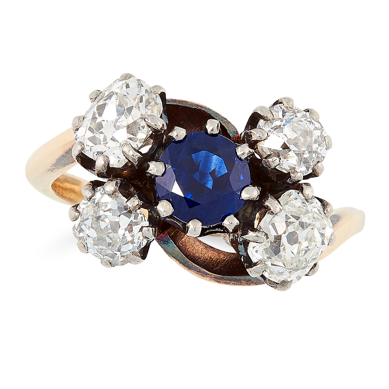 ANTIQUE SAPPHIRE AND DIAMOND RING in 18ct yellow gold, set with a round cut sapphire in a border
