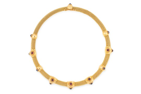 A GEMSET TORQUE NECKLACE, ILIAS LALAOUNIS in 18ct yellow gold, comprising of an interwoven pipe