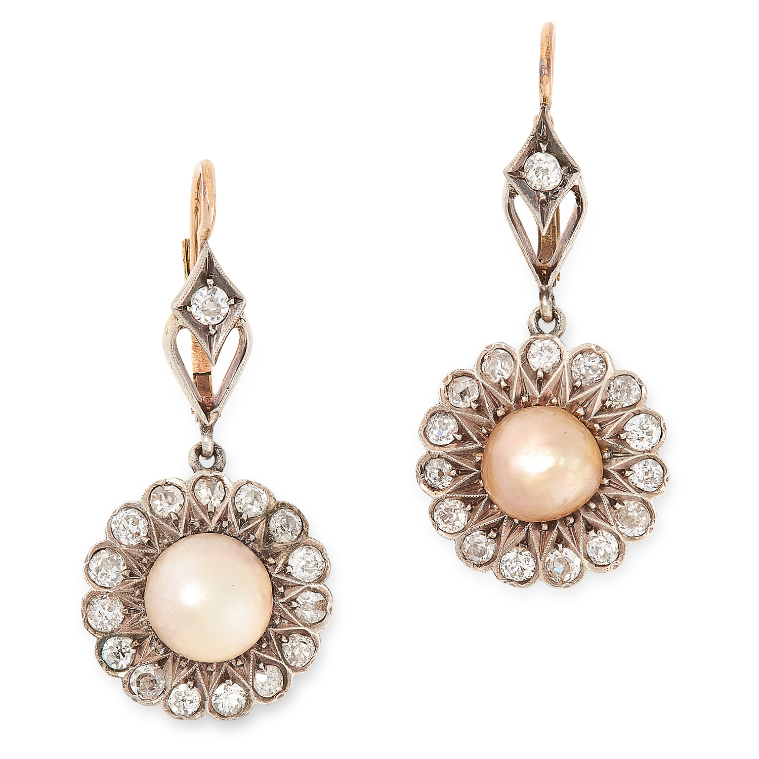 A PAIR OF ANTIQUE NATURAL PEARL AND DIAMOND EARRINGS, 19TH CENTURY in yellow gold and silver, each