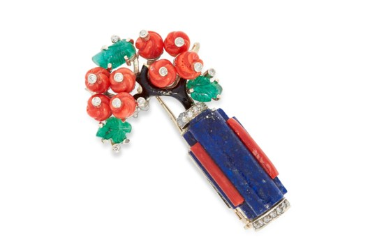 A CORAL, EMERALD, LAPIS LAZULI, DIAMOND AND ENAMEL FLOWER BROOCH, CIRCA 1950 in 18ct gold,