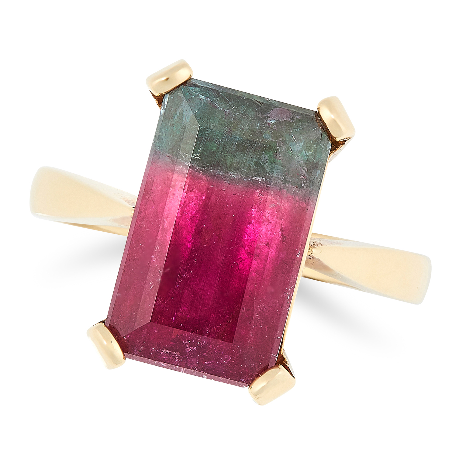 A WATERMELON TOURMALINE DRESS RING in 18ct yellow gold, set with an emerald cut watermelon
