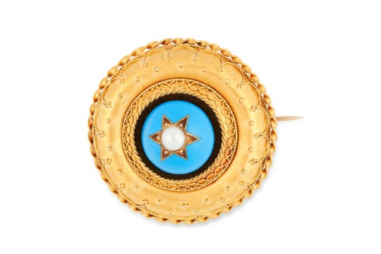 AN ANTIQUE ETRUSCAN REVIVAL PEARL AND TURQUOISE BROOCH in high carat yellow gold, set with a pearl