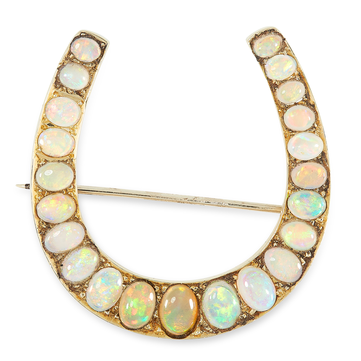 AN ANTIQUE OPAL HORSESHOE BROOCH in yellow gold, designed as a horseshoe, set with graduated oval