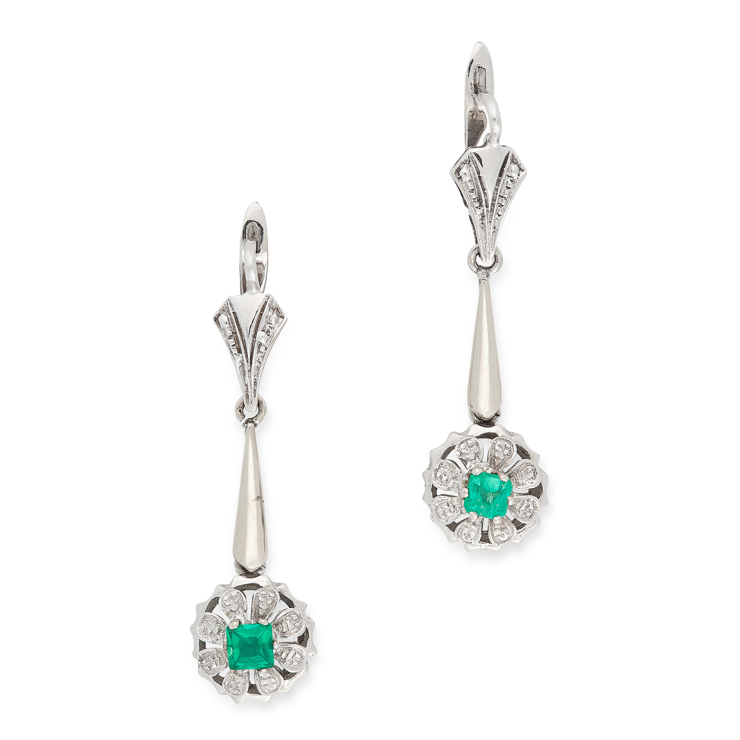 A PAIR OF EMERALD DROP EARRINGS each formed of a bar suspending a drop set with an emerald cut