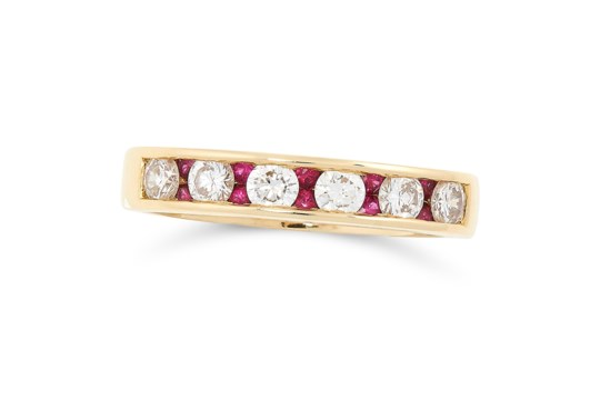 A RUBY AND DIAMOND HALF ETERNITY RING, TIFFANY & CO in 18ct yellow gold, set with articulated