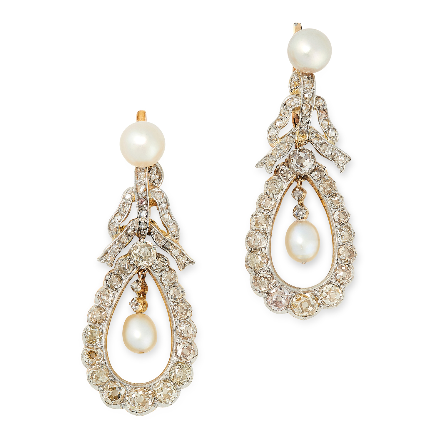A PAIR OF PEARL AND DIAMOND DROP EARRINGS in yellow gold and silver, with rose cut diamond set bow