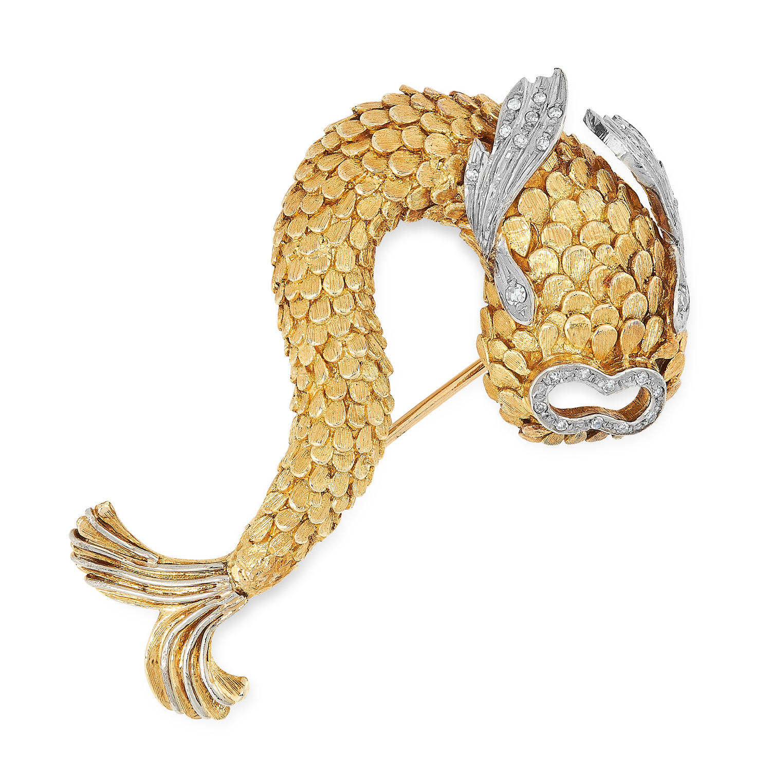 A VINTAGE DIAMOND DOLPHIN BROOCH, ILIAS LALAOUNIS CIRCA 1970 in high carat yellow gold, designed