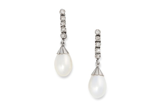 A PAIR OF PEARL AND DIAMOND DROP EARRINGS each set with five round brilliant cut diamonds,