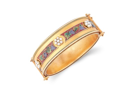 AN ANTIQUE MOSAIC AND PEARL BANGLE, 19TH CENTURY in high carat gold, in Etruscan revival design, set