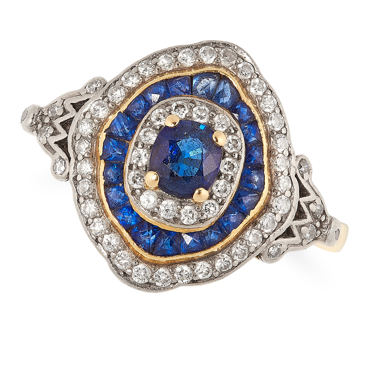 A SAPPHIRE AND DIAMOND TARGET RING, CIRCA 1950 in 18ct yellow gold, set with an oval cut sapphire in