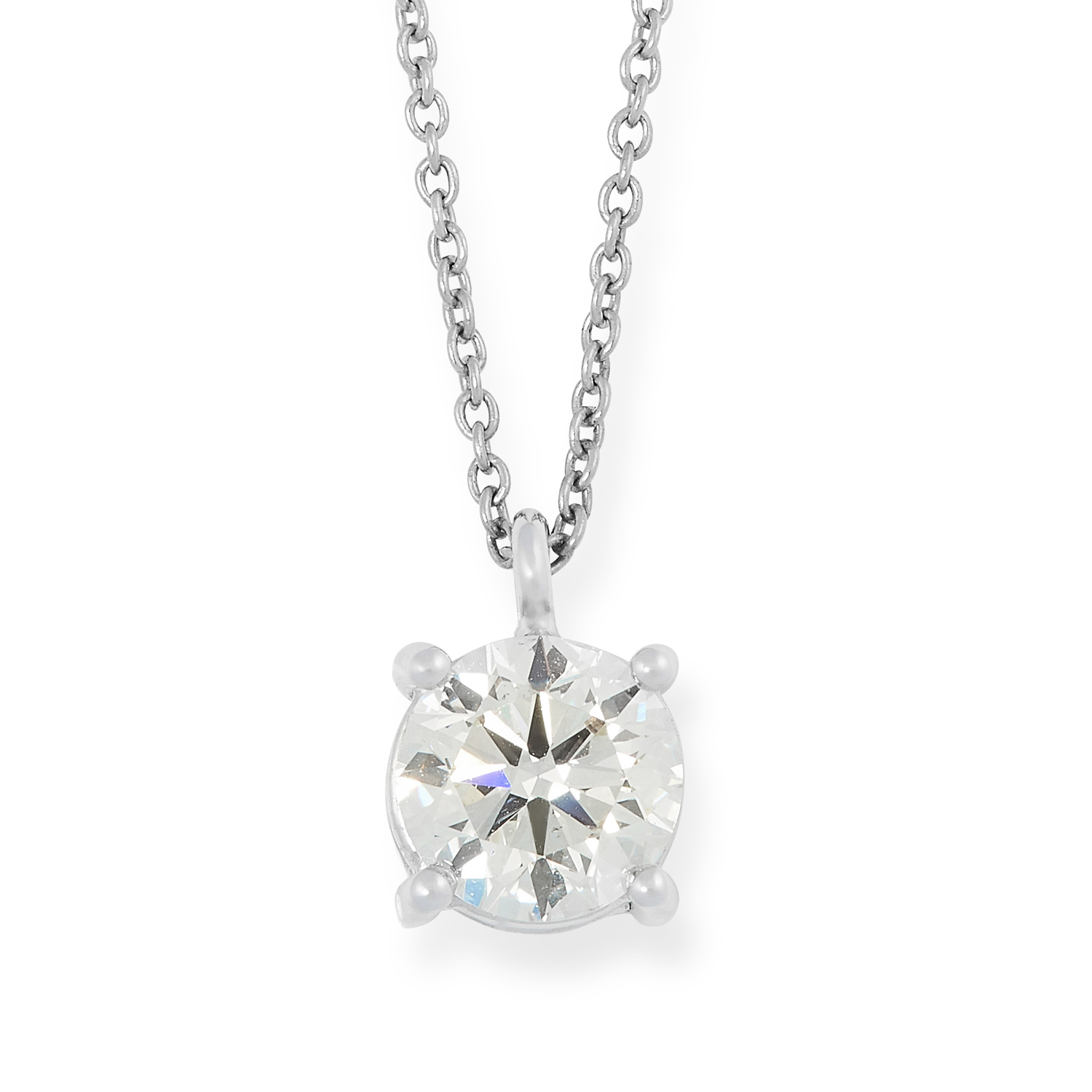 A SOLITAIRE DIAMOND PENDANT AND CHAIN set with a round cut diamond of 0.85 carats, tests as 18ct