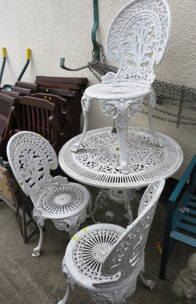 Lot 14 - WHITE PAINTED CIRCULAR METAL PATIO TABLE AND THREE CHAIRS
