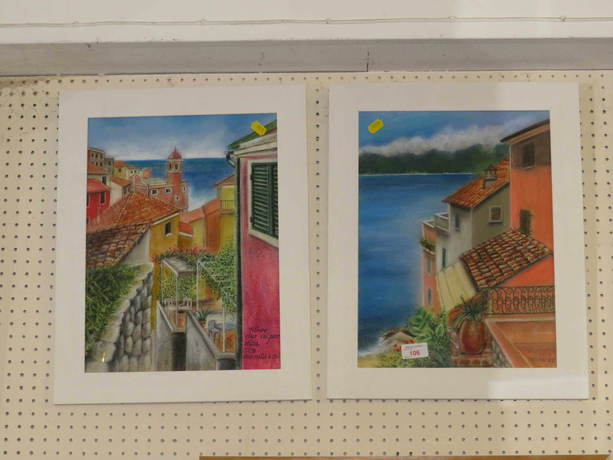 Lot 106 - TWO FRAMED AND GLAZED PASTELS OF MEDITERRANEAN SCENES