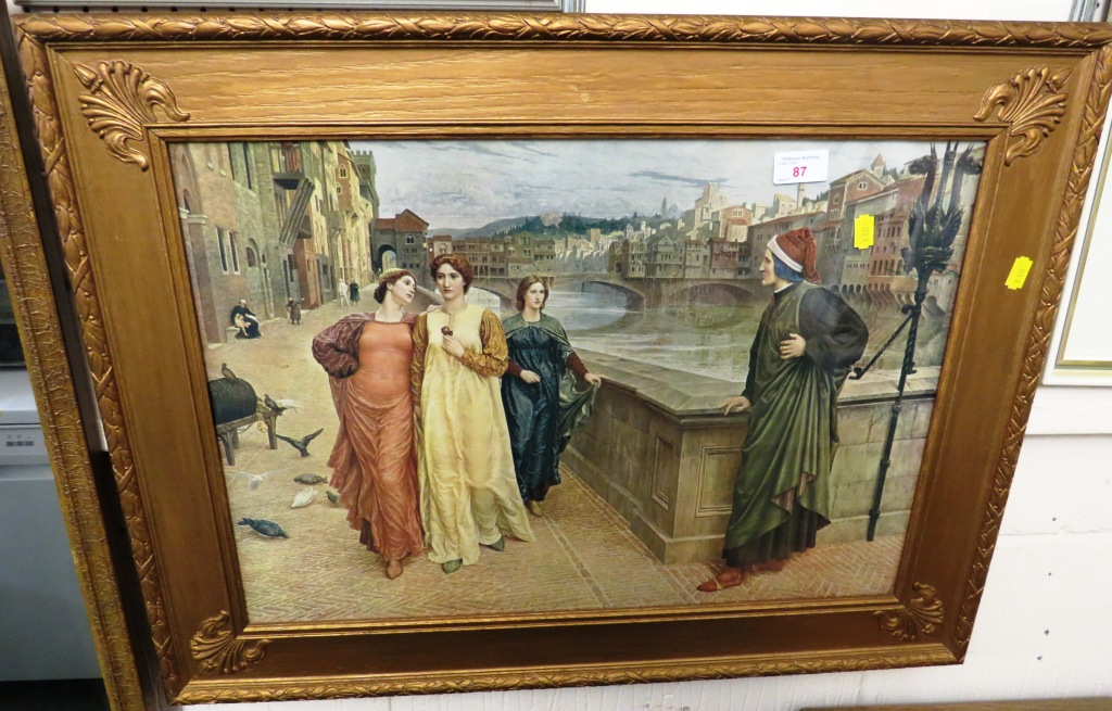 Lot 87 - FRAMED AND GLAZED PRINT OF LADIES IN PERIOD DRESS IN GILT FRAME