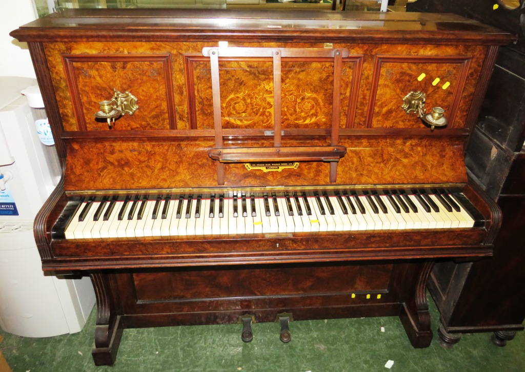 Lot 117 - LUNDBY & CO OF LONDON UPRIGHT PIANO IN WALNUT VENEERED CASE WITH BRASS CANDLE SCONCES