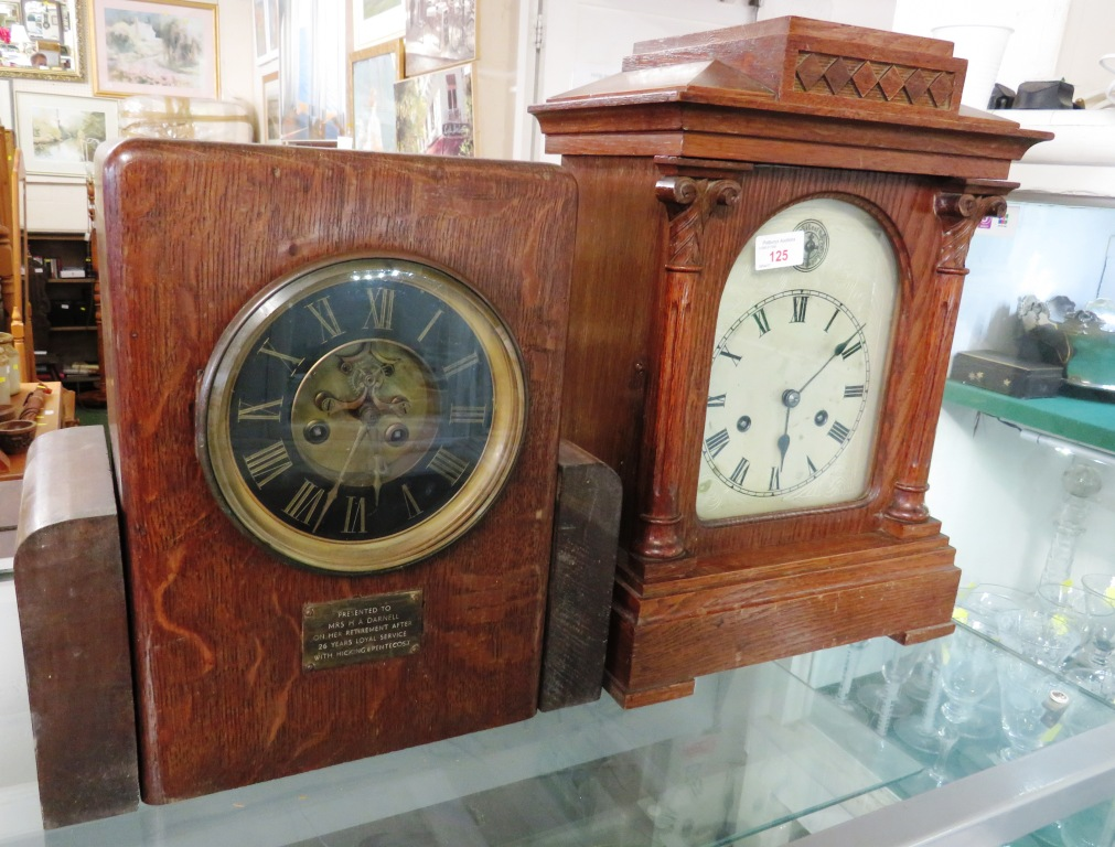 Lot 125 - TWO OAK CASED CHIMING MANTLE CLOCKS