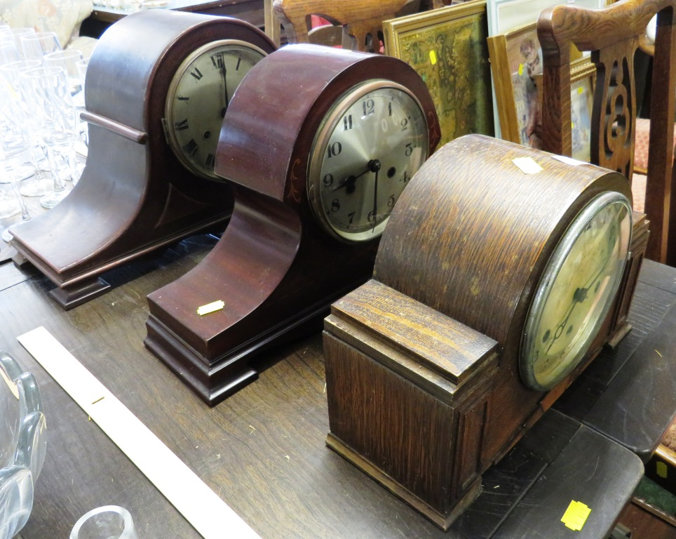 Lot 691 - THREE WOODEN CASED CHIMING MANTLE CLOCKS