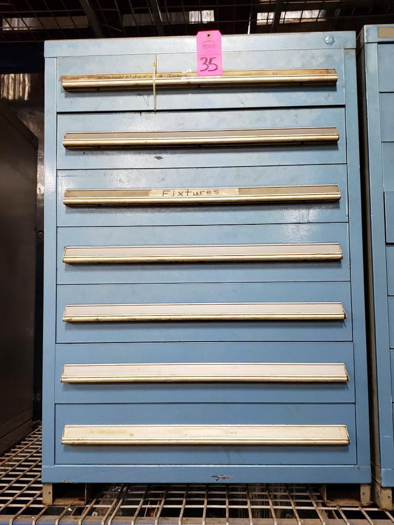 7 drawer Stanley Vidmar tool cabinet. Overall dimensions 44Tx30Wx28D.