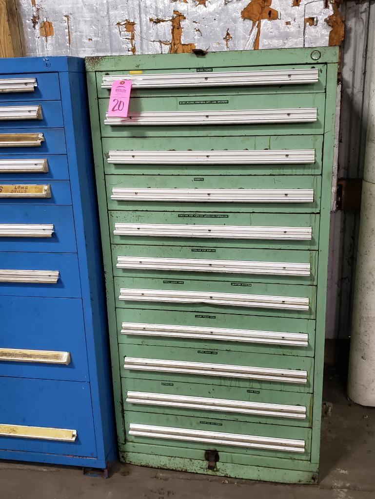 11 drawer Tool cabinet. Overall dimensions 59Tx30Wx28D.