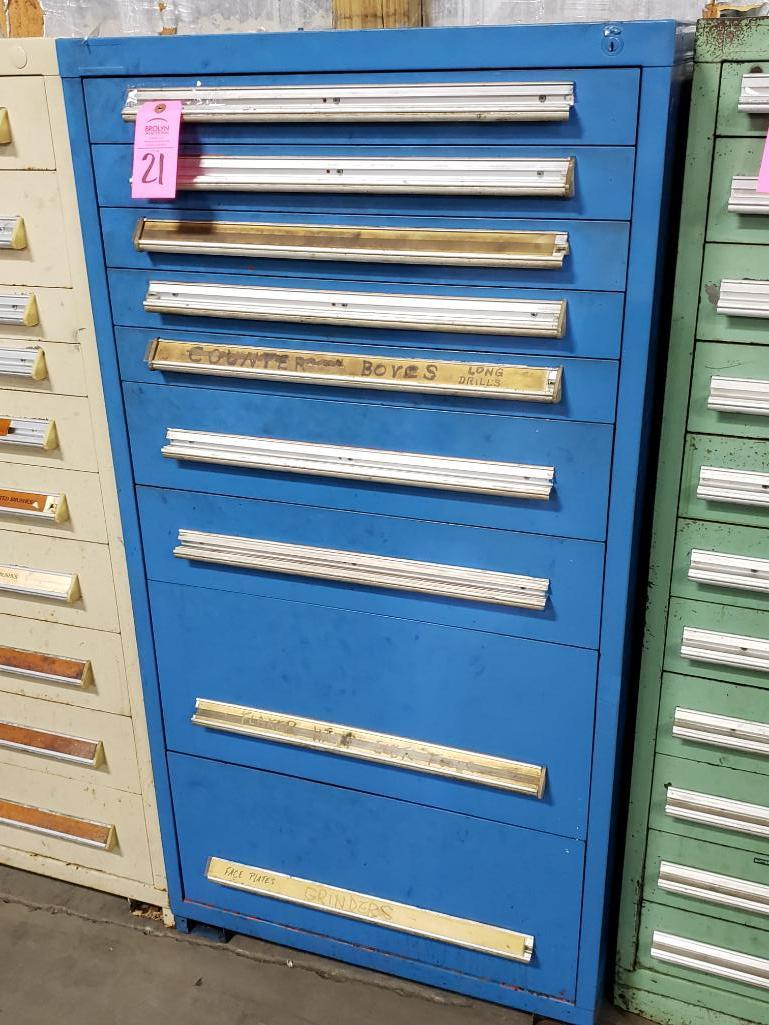 9 drawer Stanley Vidmar tool cabinet. Overall dimensions 59Tx30Wx28D.