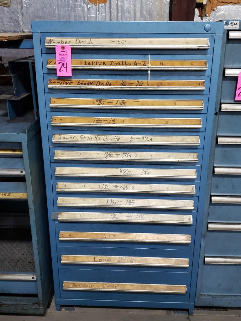 14 drawer Stanley Vidmar tool cabinet. Overall dimensions 59Tx30Wx28D.