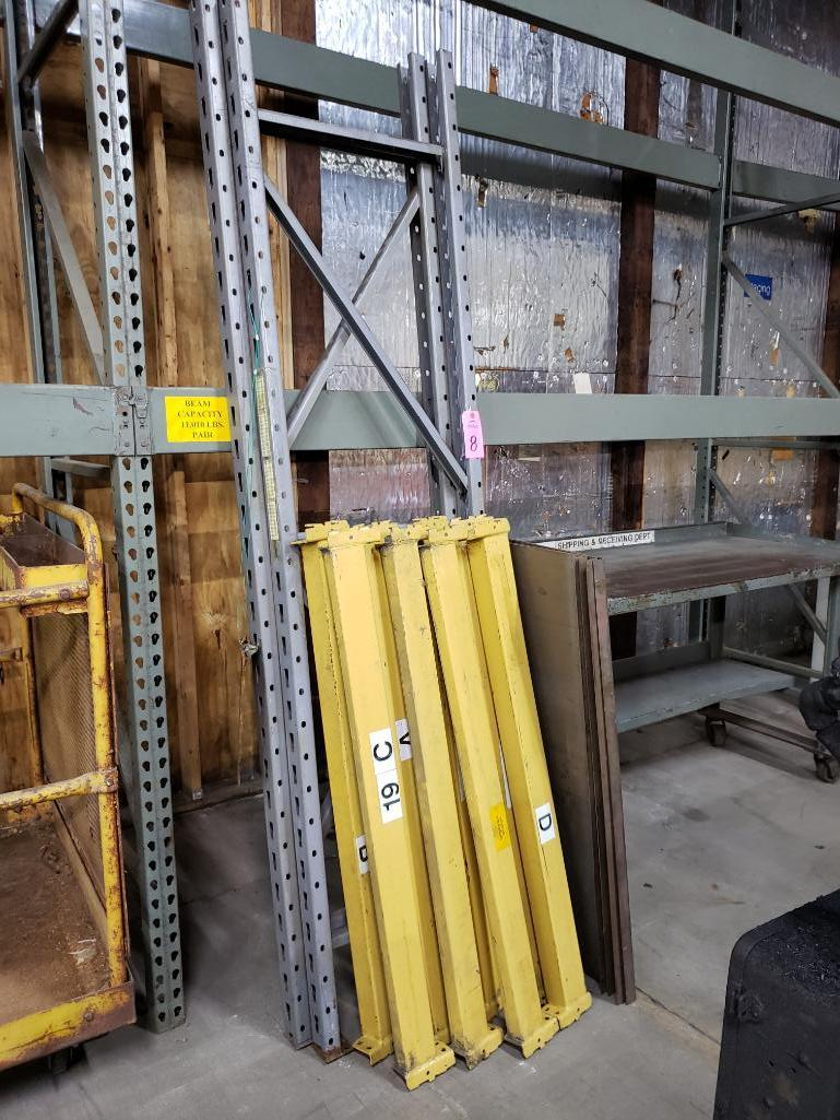 8' tall pallet rack section with 8 cross beams and steel deck.