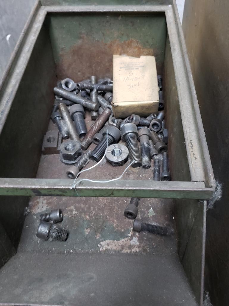 Storage bins and drawers with large quantity of press hold down hardware. - Image 4 of 11
