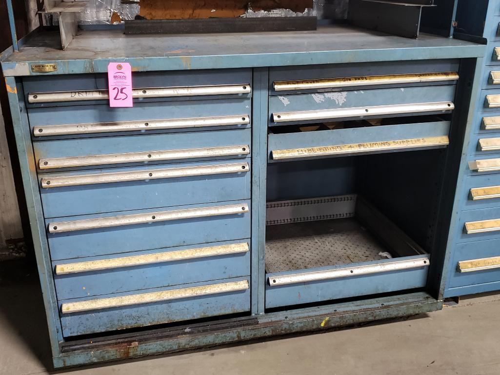 11 drawer Stanley Vidmar tool cabinet work bench. Overall dimensions 57.5Tx56.5Wx31D. - Image 2 of 4