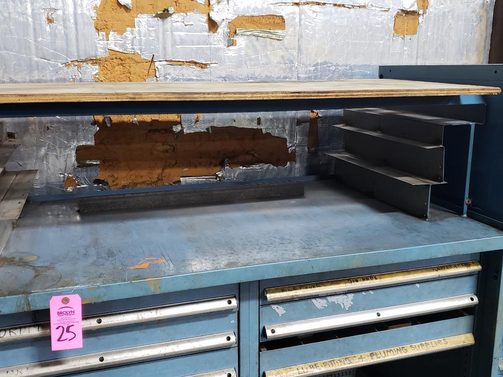 11 drawer Stanley Vidmar tool cabinet work bench. Overall dimensions 57.5Tx56.5Wx31D. - Image 3 of 4