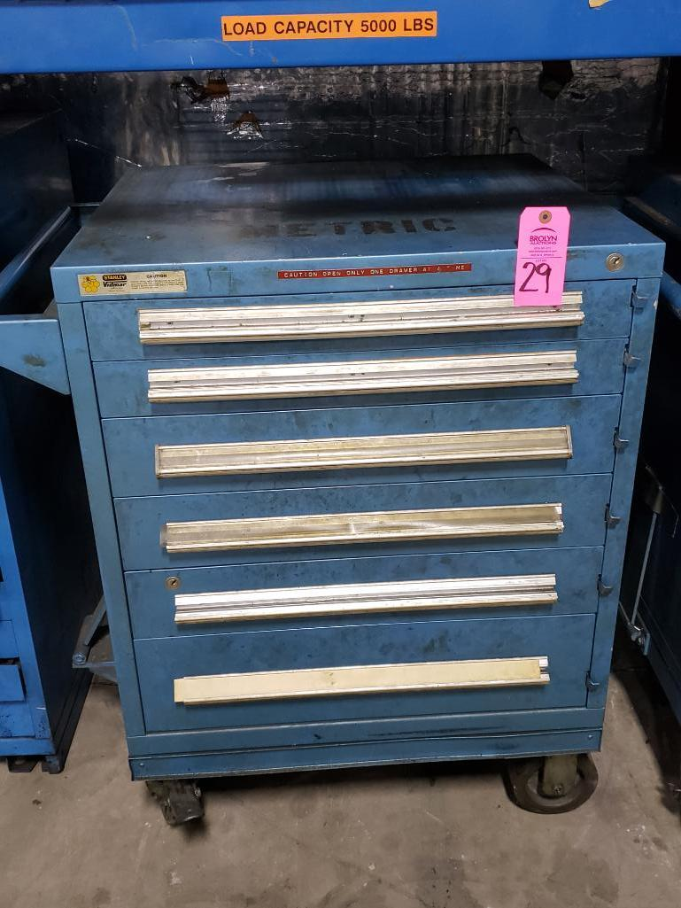 6 drawer Stanley Vidmar tool cabineton casters. Overall dimensions 41Tx35.5Wx28D.