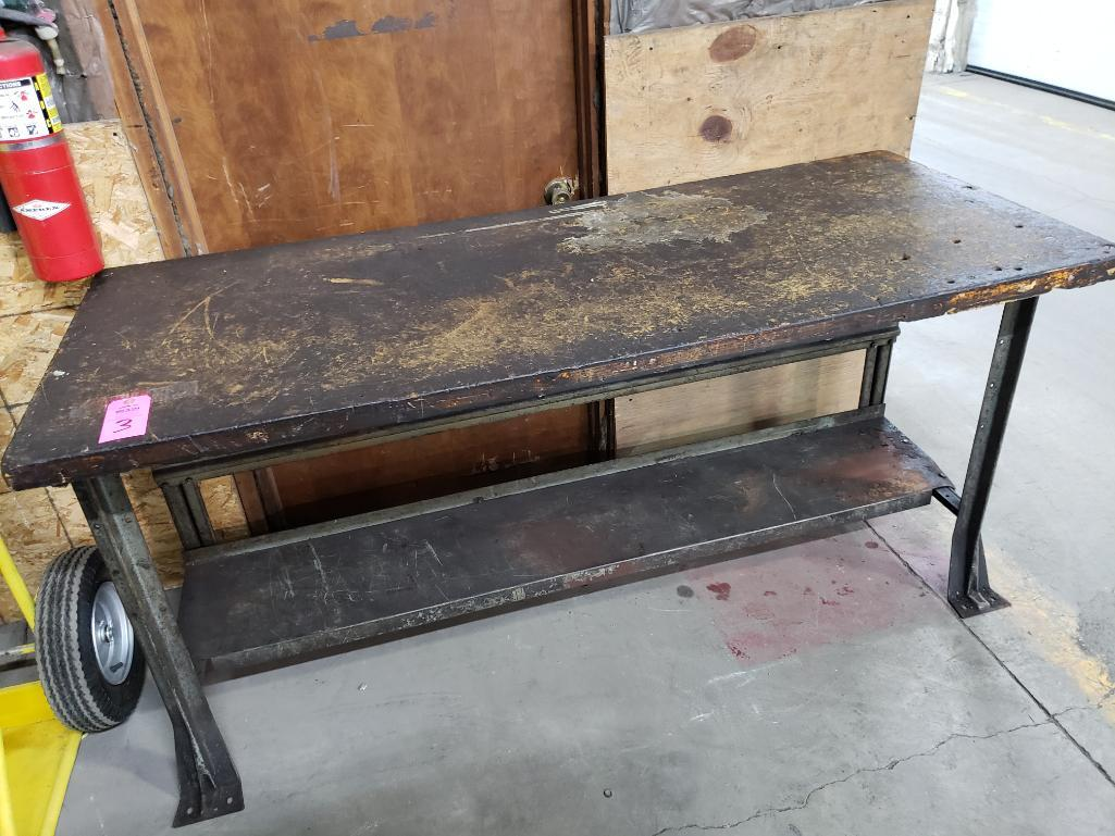 Lot 3 - Wood top work bench.
