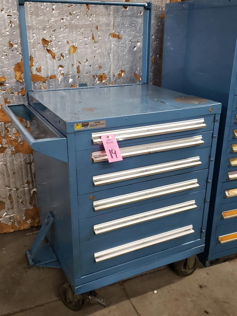 6 drawer Stanley Vidmar on casters. Overall dimensions 59.5Tx36Wx35D.