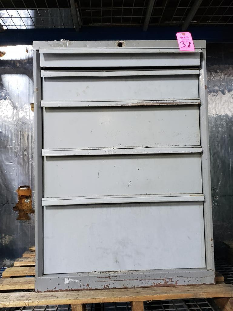 5 drawer Tool cabinet. Overall dimensions 39.5Tx28Wx29D.