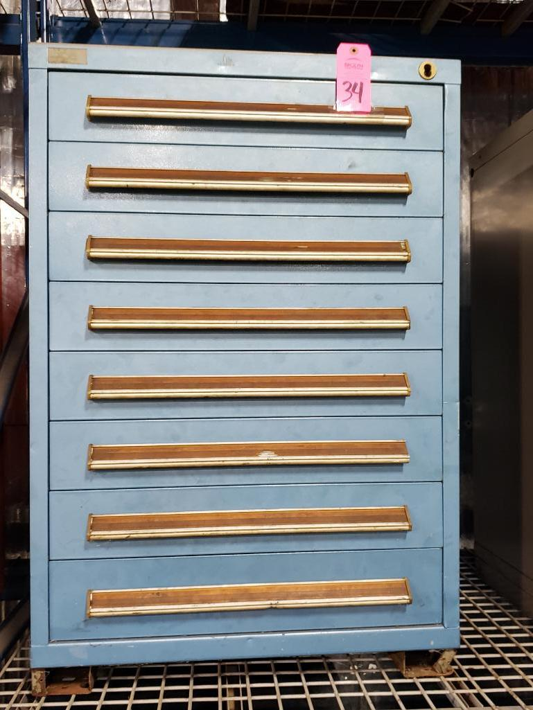 8 drawer Stanley Vidmar tool cabinet. Overall dimensions 44Tx30Wx28D.