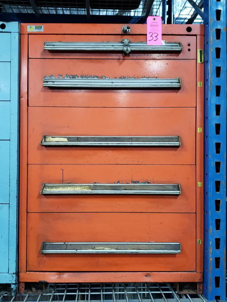 5 drawer Stanley Vidmar tool cabinet. Overall dimensions 44Tx30Wx28D.