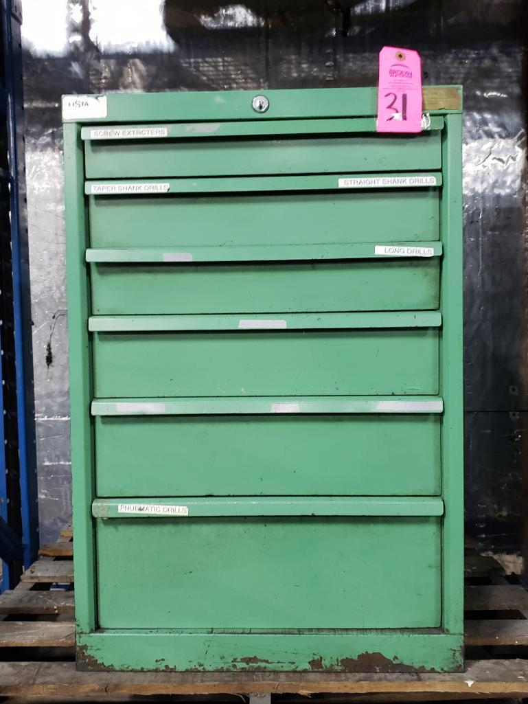 6 drawer Lista tool cabinet. Overall dimensions 33.5Tx22.5Wx28D.
