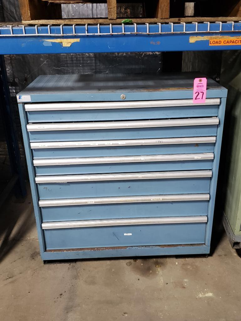 7 drawer Lista tool cabinet. Overall dimensions 42Tx40.5Wx23D.