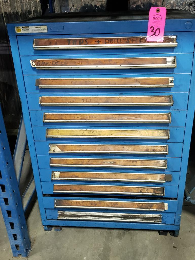 11 drawer Stanley Vidmar tool cabinet. Overall dimensions 44.5Tx30Wx28D.