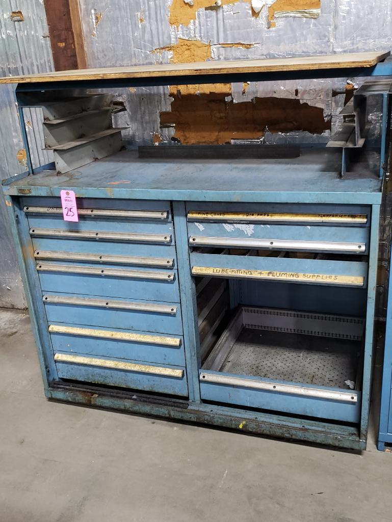 11 drawer Stanley Vidmar tool cabinet work bench. Overall dimensions 57.5Tx56.5Wx31D.