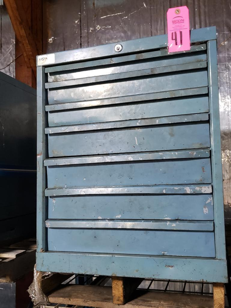 7 drawer Lista tool cabinet. Overall dimensions 27.5Tx23Wx28D.