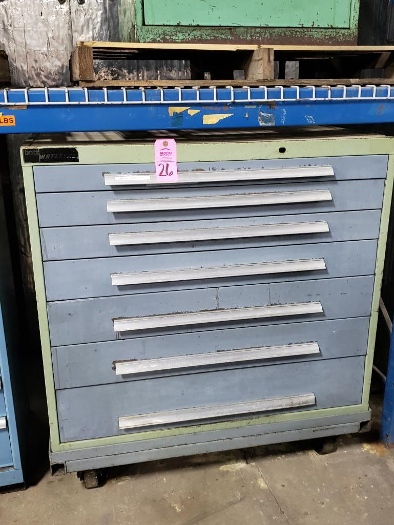 7 drawer Bott Waterloo tool cabinet on casters. Overall dimensions 48Tx44.5Wx30D.