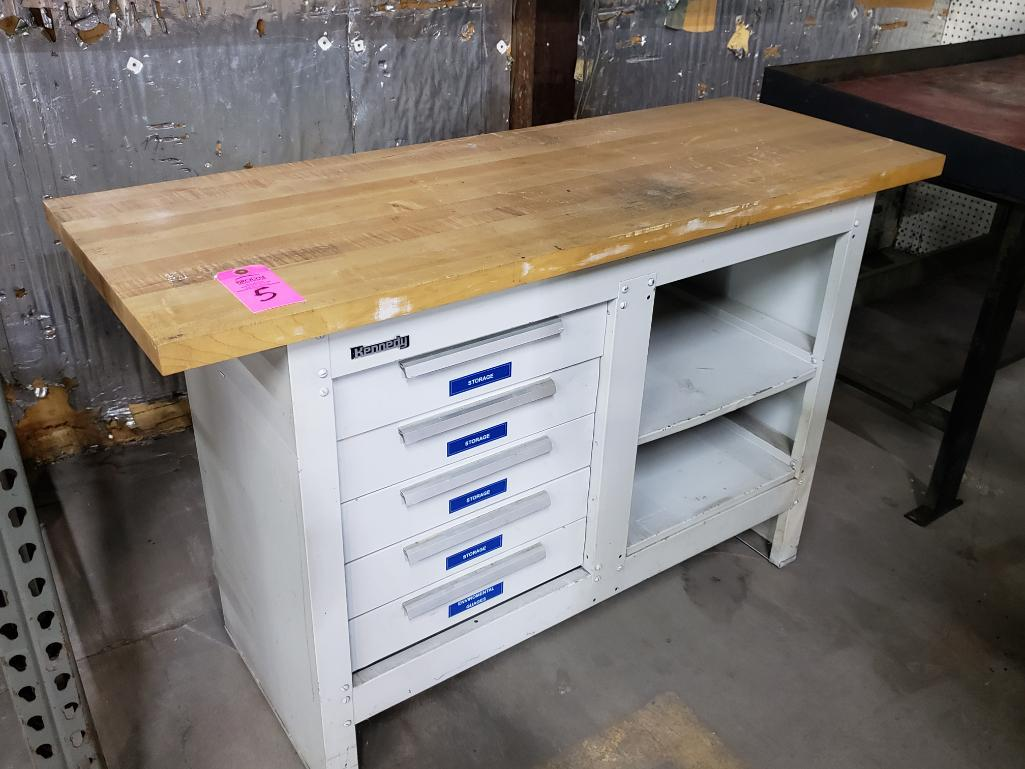 Kennedy wood top work bench. - Image 2 of 2