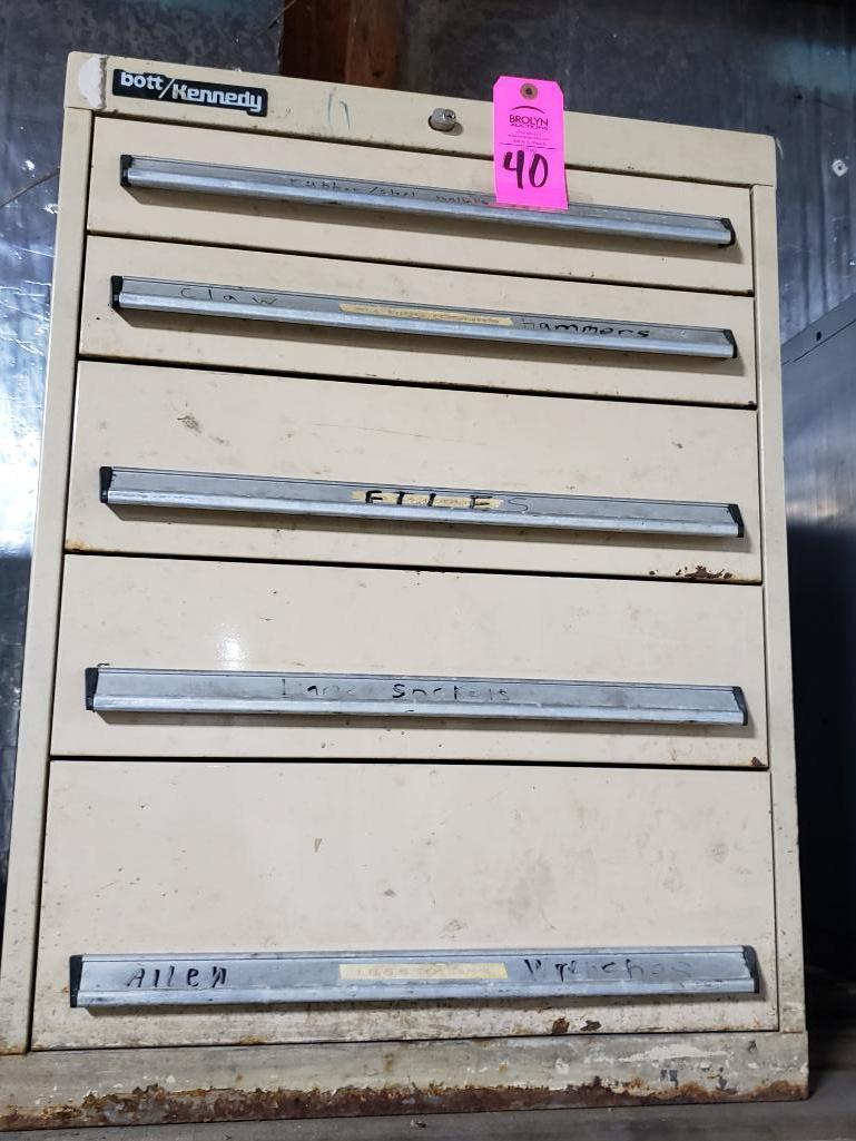 5 drawer Bott Kennedy tool cabinet. Overall dimensions 31.5Tx23.5Wx24D.