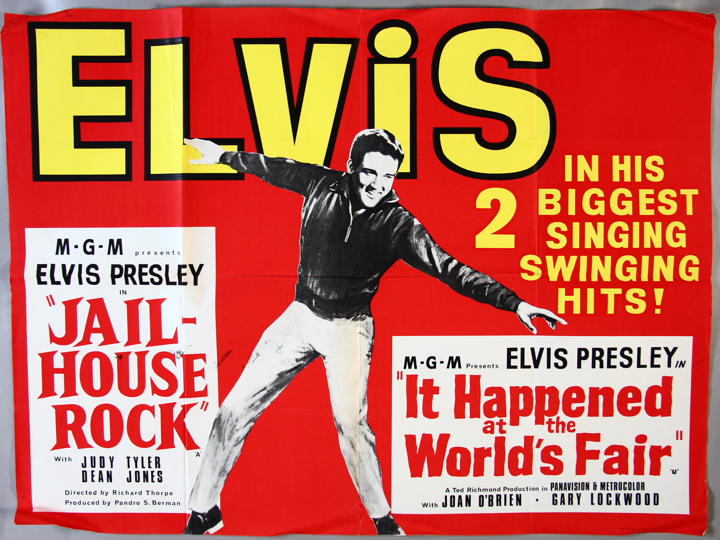 """Lot 29 - """"Jailhouse Rock / It Happened at the Worlds Fair"""" UK Quad film poster (30 x 40 inch) starring Elvis"""