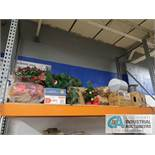 (LOT) CONTENTS OF RACK INCLUDING ELECTRICAL, CONDUIT, AUGER, CHRISTMAS DECORATIONS, SPREADER ** NO