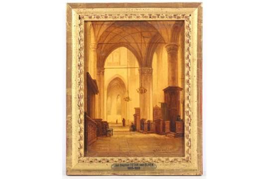 """Frisch TETAR VAN ELVEN, Jean Baptiste (1805-1889), """"Kircheninterieur"""", Öl  ZD13"""