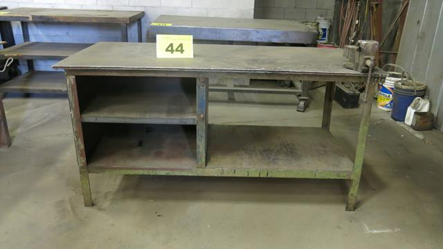 """STEEL, WORK BENCH WITH 4"""" VICE, 5' X 3' X 3'"""