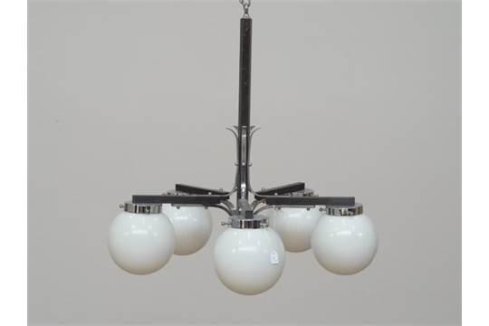 Hanglamp 5 Lampen : Armige hanglamp armige lamp met houten en deels verchroomde