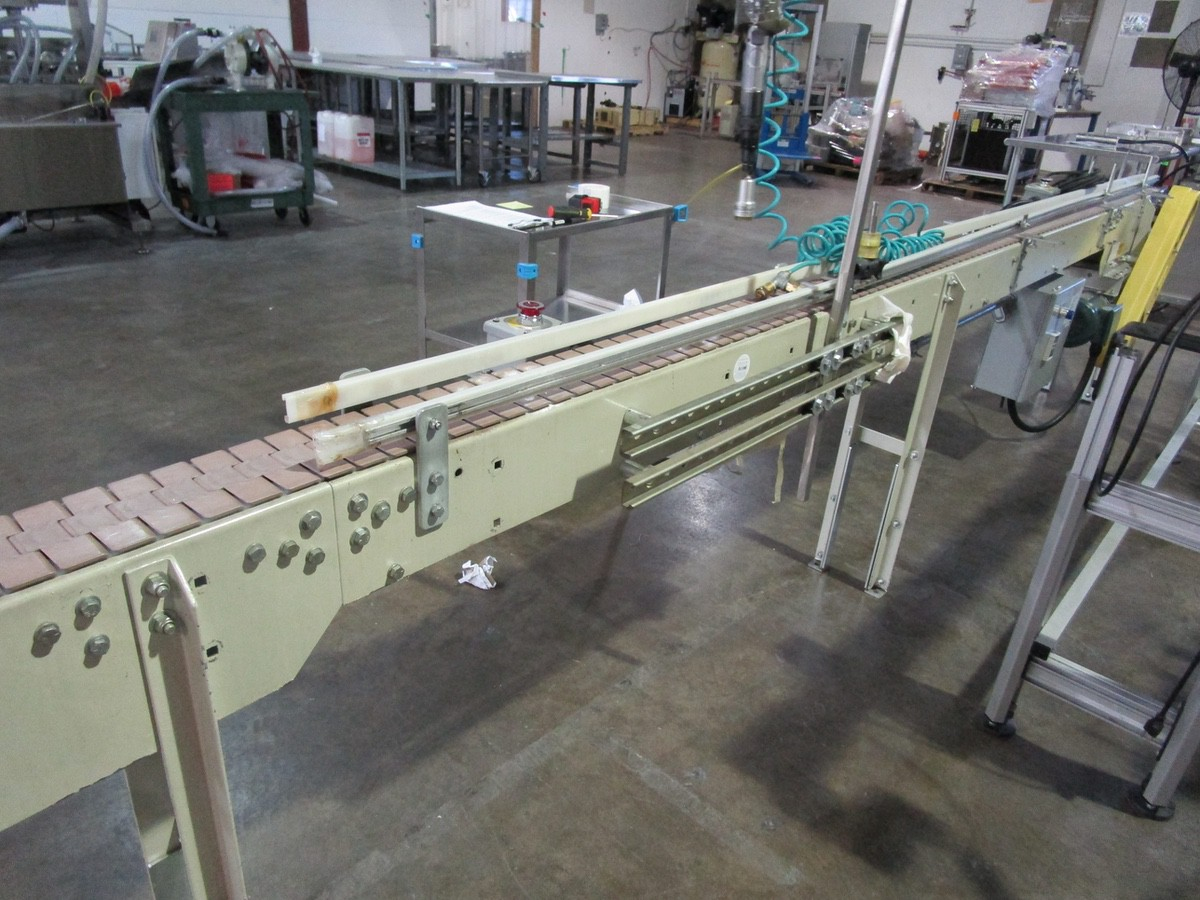 "Lot 33 - 4.5"" x 14' Slat Belt Conveyor with Accutek DeCapper 